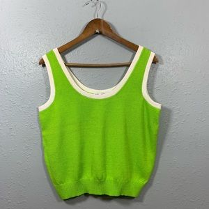 ST JOHN Collection Santana Knit Bright Green Tank